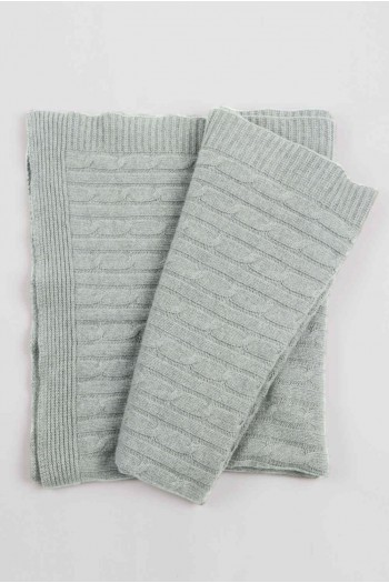 Luxury Pure Cashmere Cable Knit Blanket Throw