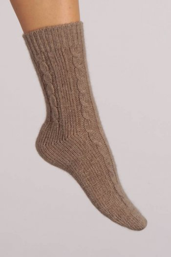 Pure Cashmere Bed Socks in Camel Brown Cable Knit