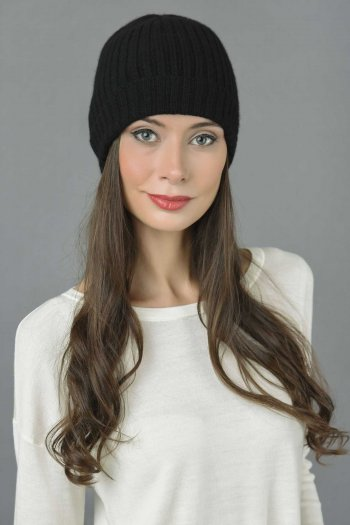 Pure Cashmere Fisherman Ribbed Beanie Hat in Black