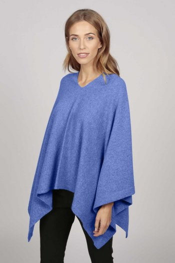 Cashmere boat neck poncho periwinkle blue