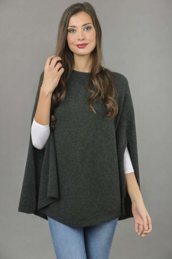 Pure Cashmere Plain Knitted Poncho Cape in Charcoal Grey