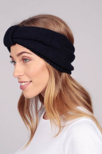 Cashmere headband Navy Blue
