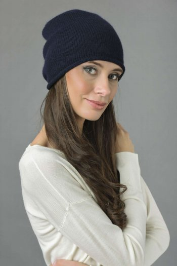 Pure Cashmere Plain Knitted Slouchy Beanie Hat in Navy Blue