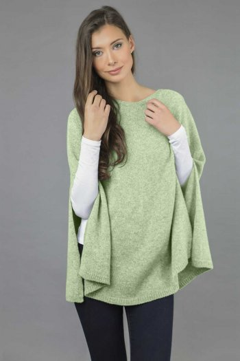 Pure Cashmere Plain Knitted Poncho Cape in Sage Green