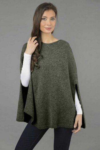 Pure Cashmere Plain Knitted Poncho Cape in Army Green