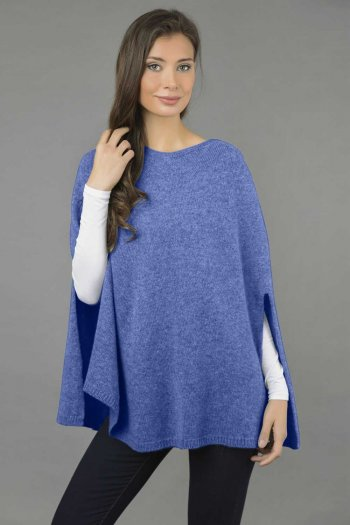 Pure Cashmere Plain Knitted Poncho Cape in Periwinkle Blue