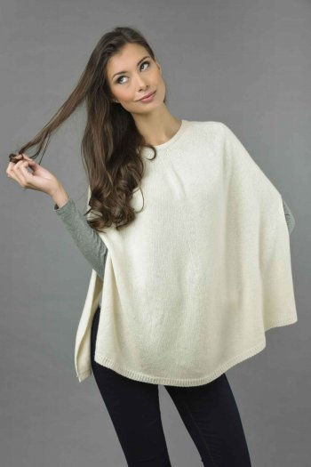 Pure Cashmere Plain Knitted Poncho Cape in Cream White