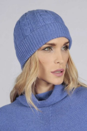 Periwikle blue cashmere beanie hat cable and rib knit