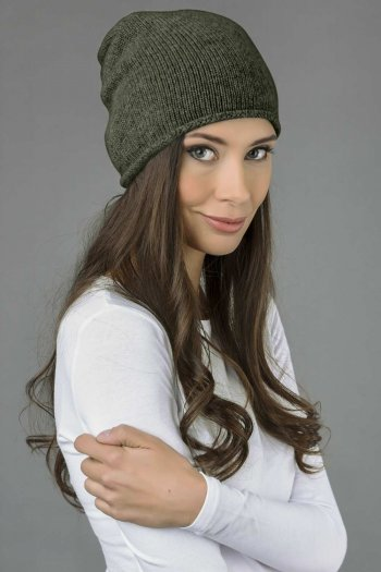 Pure Cashmere Plain Knitted Slouchy Beanie Hat in Army Green