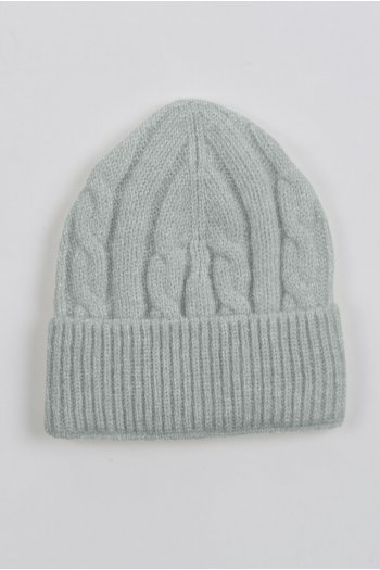 Baby cashmere beanie hat light grey