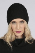 Black pure cashmere beanie hat cable and rib knit 2