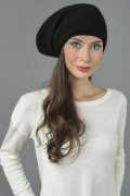 Pure Cashmere Ribbed Knitted Slouchy Beanie Hat in Black 3