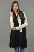 Knitted Pure Cashmere Wrap in Black 2