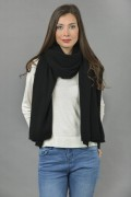Knitted Pure Cashmere Wrap in Black 1