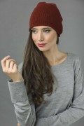 Pure Cashmere Plain Knitted Slouch Beanie Hat in Bordeaux 3