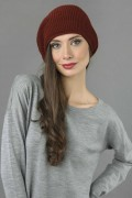 Pure Cashmere Ribbed Knitted Slouchy Beanie Hat in Bordeaux 3