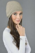 Pure Cashmere Plain Knitted Beanie Hat in Camel  3Brown