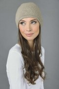Pure Cashmere Plain Knitted Beanie Hat in Camel Brown 2
