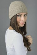 Pure Cashmere Plain and Ribbed Knitted Beanie Hat in Camel Brown 3