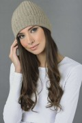 Pure Cashmere Fisherman Ribbed Beanie Hat in Camel Brown 1