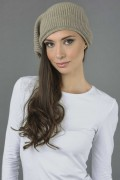 Pure Cashmere Ribbed Knitted Slouchy Beanie Hat in Camel Brown 2