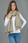 Knitted Pure Cashmere Wrap in Camel Brown 1