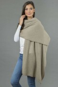Knitted Pure Cashmere Wrap in Camel Brown 2