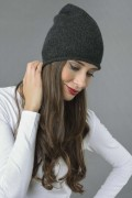 Pure Cashmere Plain Knitted Beanie Hat in Charcoal Grey 2