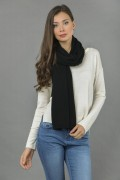 Pure Cashmere Plain Knitted Small Stole Wrap in Black 3