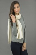 Pure Cashmere Plain Knitted Small Stole Wrap in Cream White 2