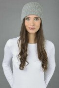 Pure Cashmere Fisherman Ribbed Beanie Hat in Light Grey 2