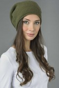 Pure Cashmere Ribbed Knitted Slouch Beanie Hat in Loden Green 3