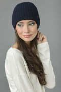 Pure Cashmere Fisherman Ribbed Beanie Hat in Navy Blue 3