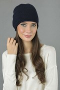 Pure Cashmere Plain Knitted Slouchy Beanie Hat in Navy Blue1