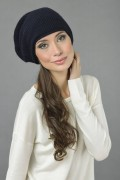 Pure Cashmere Ribbed Knitted Slouchy Beanie Hat in Navy Blue 3