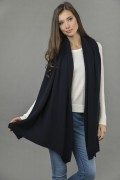 Knitted Pure Cashmere Wrap in Navy Blue 4