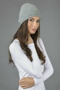 Pure Cashmere Plain Knitted Beanie Hat in Light Grey 2