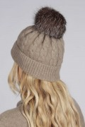 Camel Brown pure cashmere fur pom pom cable knit beanie hat back