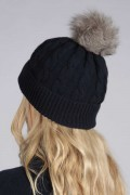 Navy Blue pure cashmere fur pom pom cable knit beanie hat back