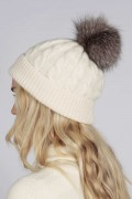 Cream White pure cashmere fur pom pom cable knit beanie hat back