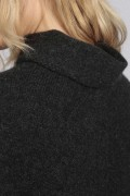 Charcoal Grey pure cashmere roll neck poncho cape close-up