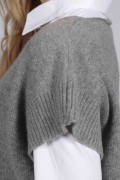 Light grey women's pure cashmere sleeveless sweater close-up