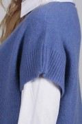 Periwinkle blue women's pure cashmere sleeveless sweater close-up