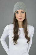 Pure Cashmere Plain Knitted Slouch Beanie Hat in Light Grey 1