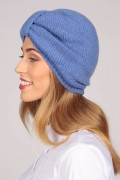 Cashmere turban in periwinkle blue 3