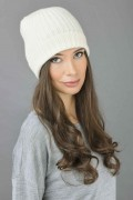 Pure Cashmere Fisherman Ribbed Beanie Hat in Cream White 3