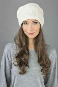 Pure Cashmere Ribbed Knitted Slouchy Beanie Hat in Cream White 1