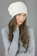 Pure Cashmere Ribbed Knitted Slouchy Beanie Hat in Cream White 3