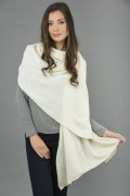 Knitted Pure Cashmere Wrap in Cream White 1