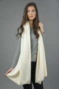 Knitted Pure Cashmere Wrap in Cream White 4
